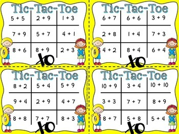 FREE: Tic Tac Toe Addition Facts Task Card Game