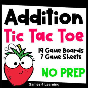 Tic Tac Toe Addition Games for Addition Fact Fluency