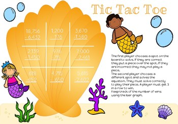 Tic Tac Toe Addition and Subtraction- Mermaid Theme