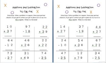 Tic-Tac-Toe Addition and Subtraction with Regrouping