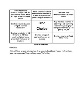 Tic-Tac-Toe Anchor Activities for Career Research