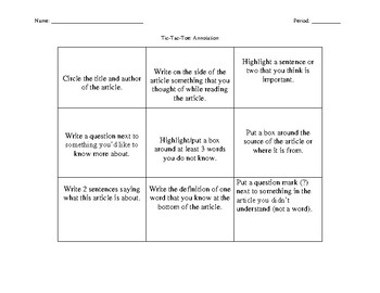 Annotation Worksheet | Teachers Pay Teachers
