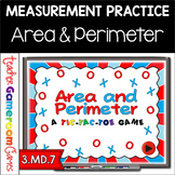Tic Tac Toe - Area and Perimeter Powerpoint Game Customary System