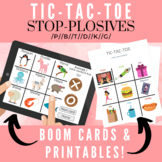 Tic-Tac-Toe: Articulation Stop-Plosives //24 pages!// Printable & Boom Cards!