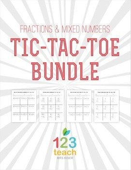 Fraction Operations Partner Review Activity - Tic Tac Toe BUNDLE!