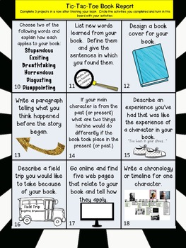 Tic-Tac-Toe Book Reports (NO PREP, Multiple Intelligences, Authentic Assessment)