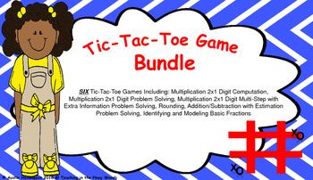 Tic-Tac-Toe Bundle- Multiplication, Addition, Subtraction, Fractions, Estimation