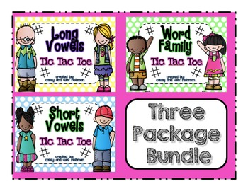 Tic Tac Toe Bundle Package {Long Vowels, Short Vowels, Word Families}