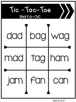 Tic-Tac-Toe CVC Short Vowels