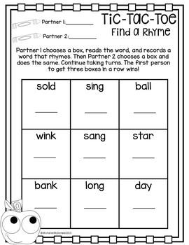 Tic-Tac-Toe: Rhyming & Opposites Activities