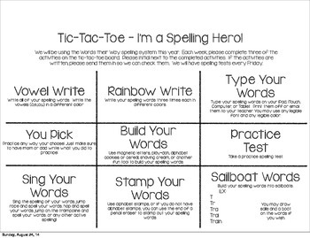 Tic Tac Toe Choice Board for Spelling