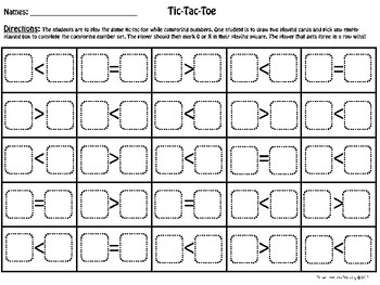 Tic-Tac-Toe Comparing Numbers