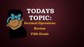 Tic Tac Toe Decimal Review for Fifth Grade