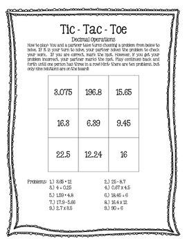 Tic Tac Toe Decimals - All Operations