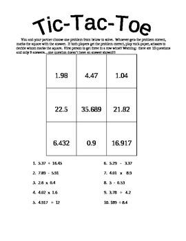 Tic-Tac-Toe:  Decimals (all operations)