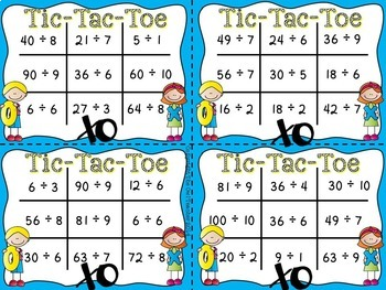 Tic Tac Toe Division Facts Task Card Game