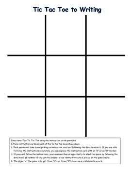 Tic Tac Toe Editing and Revision