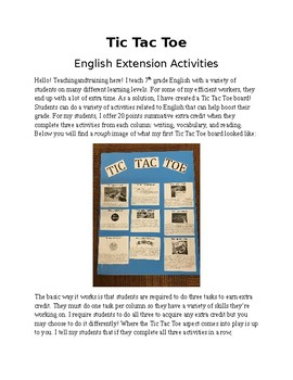 Tic Tac Toe: English Extension Activities