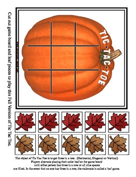 Tic Tac Toe Fall Halloween Pumpkin Game / Free / 2 sizes - Strategy Activity