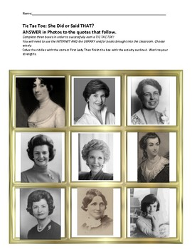 Tic Tac Toe: First Ladies to US Presidents