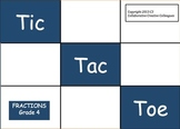 Tic Tac Toe Fractions Grade 4