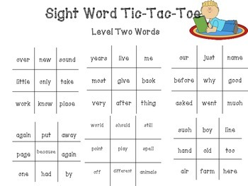 Tic Tac Toe Fry Sight Word Game
