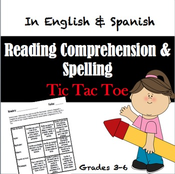 Tic Tac Toe Game Activities in Spanish & English- Reading & Spelling