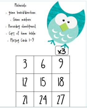 Tic-Tac-Toe Game Boards for Multiplication and Division