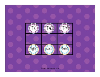 Tic Tac Toe Game with Sight Words