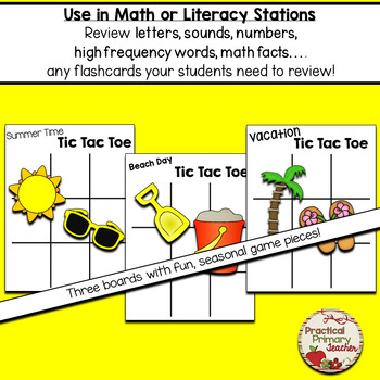 Show What You Know Tic Tac Toe (Summer Theme) Literacy or Math Stations