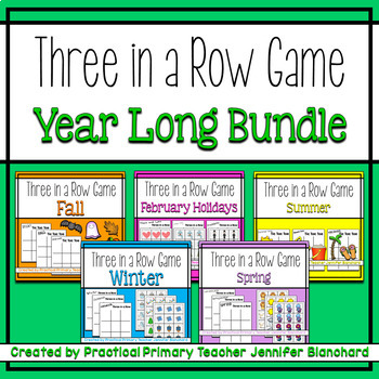 Three in a Row Game for Literacy or Math Stations BUNDLE
