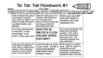 FIVE Tic Tac Toe Homework Choice Boards