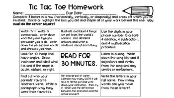Tic Tac Toe Homework FREEBIE!