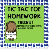Tic Tac Toe Homework FREEBIE!