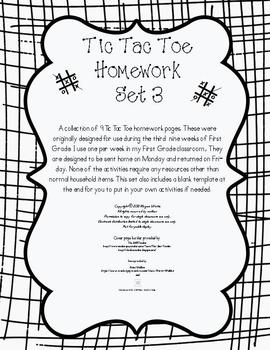 Tic Tac Toe Weekly Homework Set 3