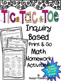 Tic Tac Toe Inquiry Based  Math Homework 3rd & 4th Grades