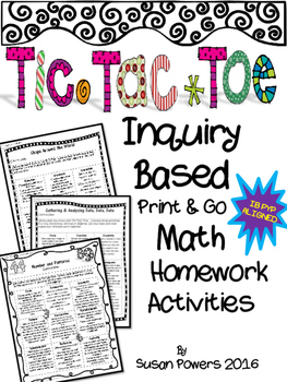 Tic Tac Toe Inquiry Based Math Homework Activities