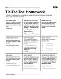 Tic Tac Toe Kindergarten Homework Choice Board