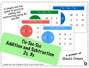 Addition and Subtraction Tic Tac Toe with 2 and 3