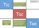 Tic Tac Toe Math Concept and Vocabulary Review