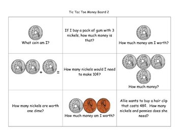 Tic Tac Toe Money  with Touchpoints Pack for Second Grade