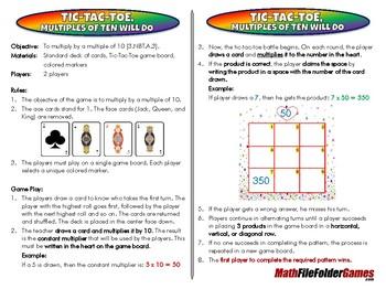 Tic-Tac-Toe, Multiples of Ten will Do - 3rd Grade Math Game [CCSS 3.NBT.A.3]