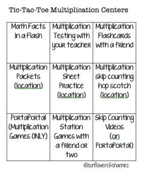 Tic-Tac-Toe Multiplication Centers