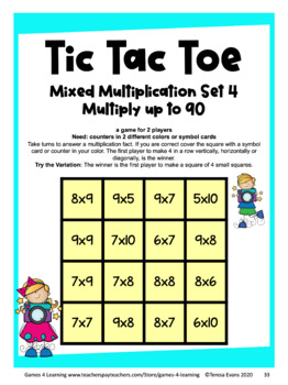 Multiplication Games - Printable Tic Tac Toe Math Games for Fact Practice