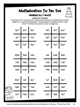 graphic relating to Multiplication Facts Games Printable identify Printable Tic Tac Toe Math Game titles for Multiplication Truth of the matter Fluency Educate