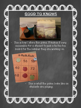Multiplication Math Facts Game Tic Tac Toe