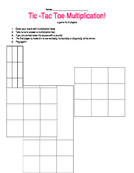 Tic Tac Toe Multiplication Game