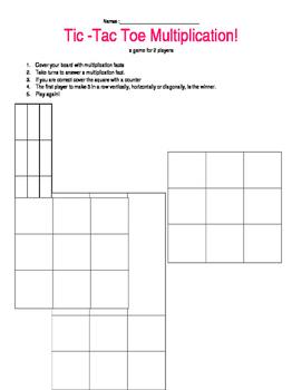 Tic Tac Toe Multiplication Game