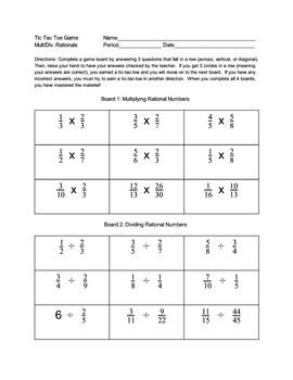 Tic Tac Toe Multiplying and Dividing Fractions