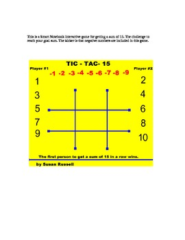 Tic Tac Toe Negative & Positive Number Sums